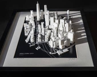 NEW YORK CITY, Manhattan - 3D image map - 32x42cm