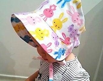 Adjustable Baby Sun Bonnet - Happy Bunnies Multi Colours