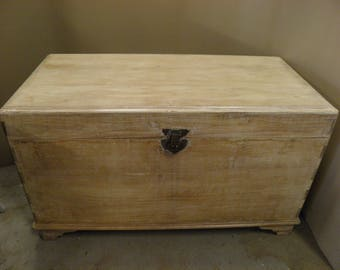 Large Vintage Weathered and Waxed Solid Teak Chest / Trunk