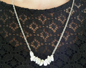 """Astala"" necklace, Howlite stone (marble)"