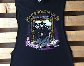 1990 Vintage Hank Williams Jr t-shirt, country, music, outlaw, singer, cowboy, lone wolf, 90's, 1990's, cut off sleeves, black, concert