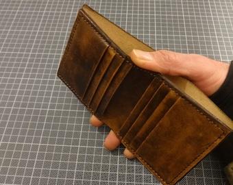 Handmade Leather Bifold Wallet for Men Vegetable Tanned Full Grain Turkish Leather Handstitched