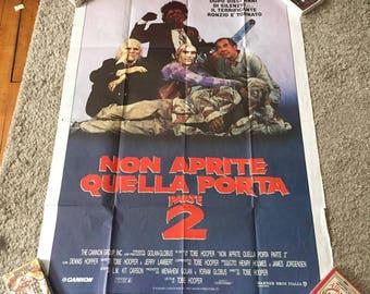 Italian Texas Chainsaw Massacre Quad Poster Original 1986 Non Aprite Quella Porta 2