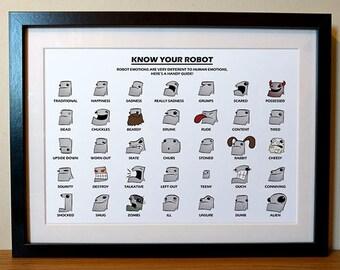 Robot Emotions Funny Print, Cartoon Digital Print, Robot Print, Robot Cartoon, Robot Illustration, Funny Robots, Robot Gift