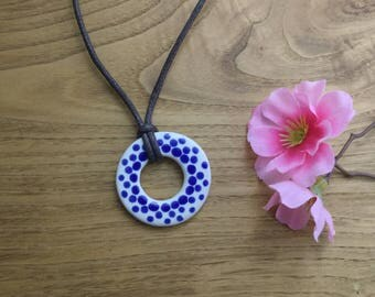 Blue and White Polka Dot Pendant Necklace