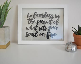 Be Fearless | 13x16 Floating Frame Quote