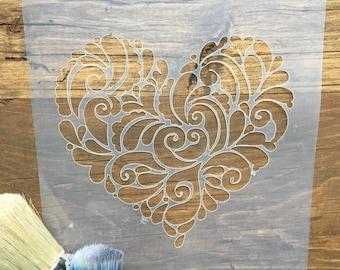 Swirly Heart Stencil, Vintage Scroll Heart, Filigree Heart, Love Heart, Stencil for paint, Bedroom Stencil, Valentine Stencil, Wedding Heart