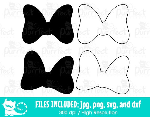 Minnie Mouse Bow Outline Silhouette SVG Disney Minnie Mouse