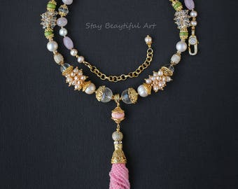 Gemstone Necklace, Pearls of Majorca, Freshwater Pearls, Pink Shell Carved Beads, Rose Quartz, Rock Crystals, Peridot, Cubic Zirconia.