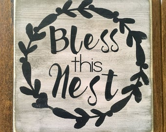 Bless this nest,rustic wood sign, handpainted, wooden signs, wood sign, home decor sign, rustic wood decor, home decor, bless