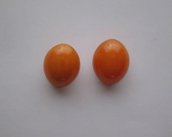 Earrings art deco bakelite yellow orange.