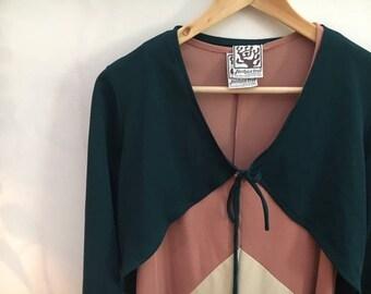 1960s Joshua Tree Colorblock Maxi Dress with Jacket