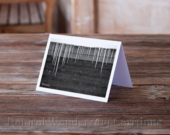 Icicles in Snow -Printable Digital Card/Artwork, snow photography, winter photography, B&W photography, instant download, printable art
