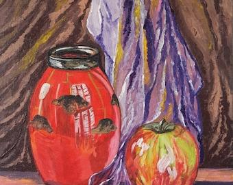 Sugar bowl with apple.30x40.Canvas,acrylic
