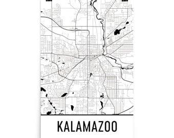 Kalamazoo Map, Kalamazoo Art, Kalamazoo Print, Kalamazoo MI Poster, Kalamazoo Wall Art, Kalamazoo Gift, Map of Kalamazoo, Kalamazoo Poster