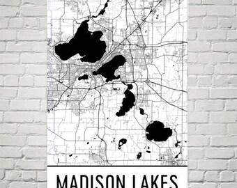 Madison Lakes Wisconsin, Madison Lakes WI, Madison WI, Lake Map, Wisconsin Map, Lake Map, Madison Lake Art, Wisconsin Art, Wisconsin Lakes
