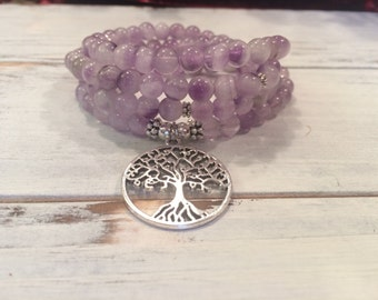 Amethyst 108 mala beads, Buddhist prayer beads, spiritual growth and inner peace, tree of life necklace, amethyst necklace or bracelet