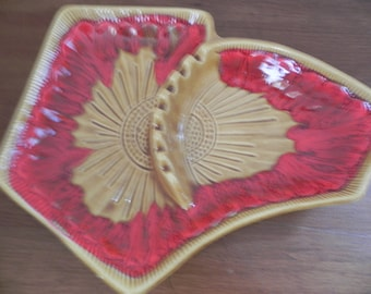Vintage Orange and Gold Large California Pottery Ashtray. Mid Century Ashtray in Excellent Shape.  Bold Colored Ashtray