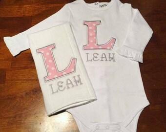 Monogrammed baby girl set, Initial appliqued baby combo, monogrammed baby set, baby girl onesie, baby girl combo