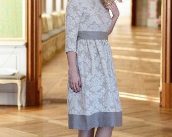 Linen dress for women Elegant dress Special occasions dress Original dress Women's dress Damask Jacquard dress Gallant dress Spring dress