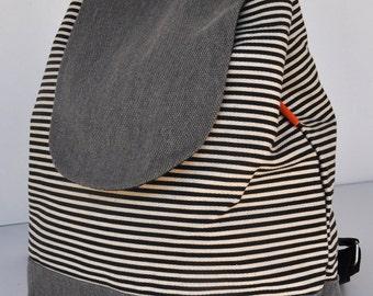 Canvas Backpack gray stripe,school back, holiday back,cross body back, canvas shopping back , holiday gift back,