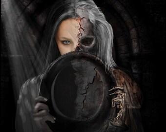 Fine Art Giclee print,canvas print,gothic,dark art,goth,vampier,occult Half dead