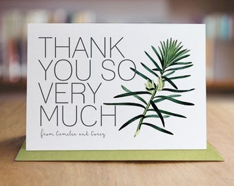 Personalized Thank You Note Card Set /  Garden Themed  Thank You Cards / Folded Shimmer Note Cards - T208