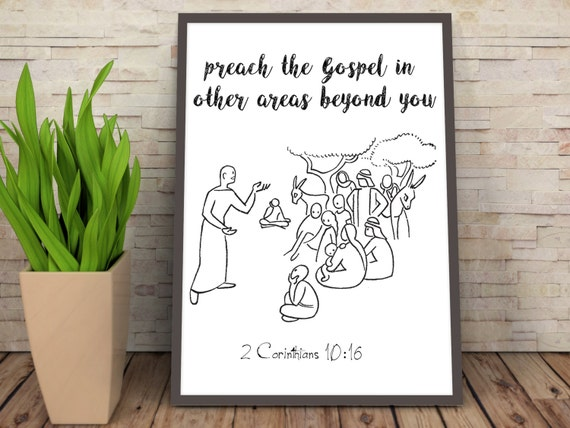 Preach the Gospel Print, Christian Inspiration Quote, Motivation Poster, Church Poster, Bible Verse Quote, Bible Verse Poster, Pastor's Desk