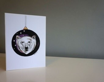 Christmas card- polar bear bauble print