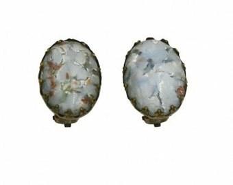 1950s Austrian Foil Glass Cabochon Vintage Earrings