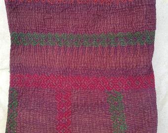 Reversible kantha quilt, Boho Vintage sari kantha gudari, boho bedding, kantha table cover