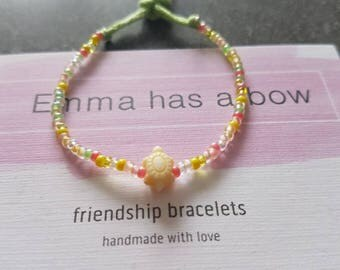 Girls bracelet * turtle * from small glass beads