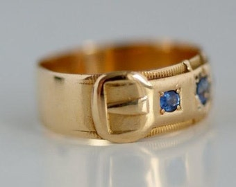 Victorian buckle ring with sapphires from 1897/Victorian buckle ring with sapphires 1897