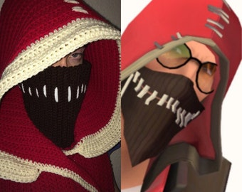 Team Fortress 2 inspired Sniper Hood // Anger Hood // Crochet // Winter Wear // Gift for Gamers