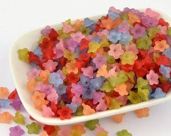 50 pc Mixed Color Frosted Flower Acrylic Beads 10x5mm