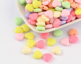 40 pc Mixed Pastel Color Heart Acrylic Beads 12x11x5mm