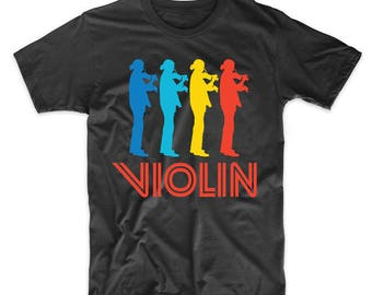 Violinist Retro Pop Art Violin Graphic T-Shirt