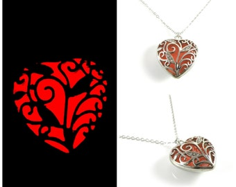 Red Glowing Heart Necklace Glow in the Dark Necklace