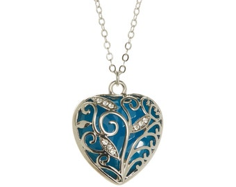 Blue Glowing Heart Necklace Glow in the Dark Necklace