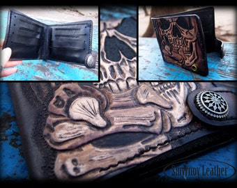 leather wallet skull 1
