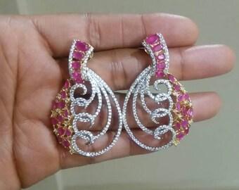 Cubic Zirconia Red Stone Chandelier Earrings