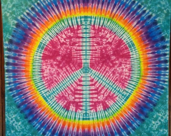 Tie Dye Tapestry Psychedelic Peace Sign TieDye Pink Green With Rainbow Festival Flag