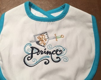 Embroidered Prince Baby Bib
