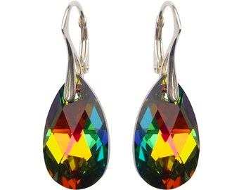 Exclusive Earrings with Swarovski Pear Shaped Vitrail Medium 22mm Crystals