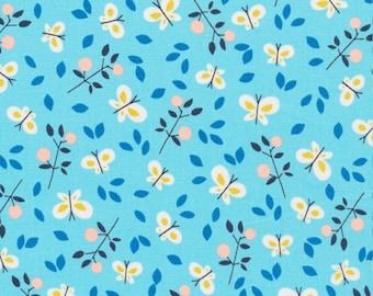 Cloud 9 Butterfly Garden Organic Fabric. Pale blue Cotton. Organic Dressmaking fabric. Organic Craft fabric, Butterfly organic fabric