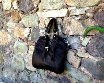 Dark Brown Leather Hobo with Cross-Body