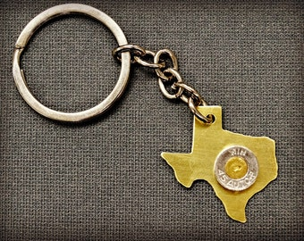 Fired Cartridge Texas Key chain, Birthstone, Recycled Brass, Gift for Hunters, Gift for Shooters, Texas, Bullet Jewelry, Texan gift, Texans
