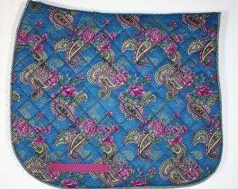 Blue floral Dressage Saddle Pad