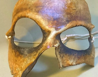 Ugly Orcish mask - moulded and handpainted leather