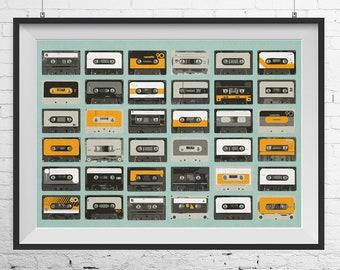 Audio cassettes print, Audio cassettes poster, Music print, Music poster, Retro music print, Retro music poster, Cassette tapes print